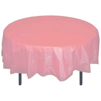 """*12 Count* Pink 84"""" Round Plastic Tablecloths"""