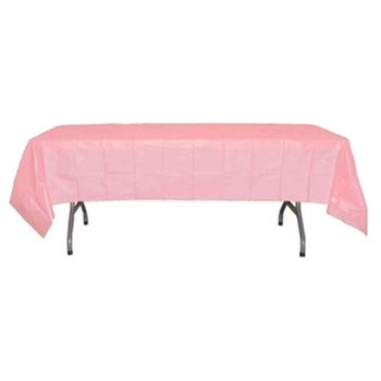 "*12 Count* Pink Rectangular Plastic Tablecloths 54"" x 108"""