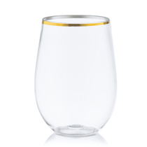 12 oz. Stemless Plastic Wine Goblet w/ Gold Rim 6ct.