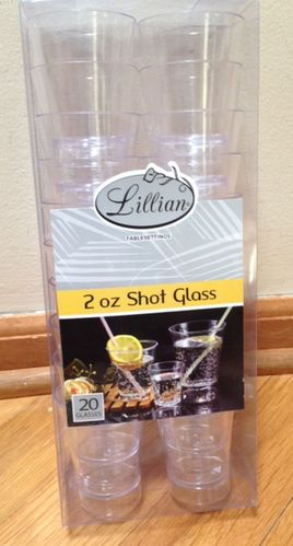 2oz. Clear Plastic Shot Cup, 20 count