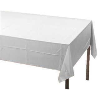 "3-Ply Linen Like Solid White Disposable Tablecloth 50"" x108"""