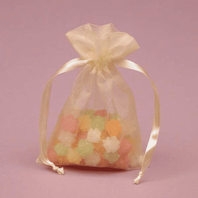 """3"""" x 4"""" Toffee Organza Bags 10 Count"""