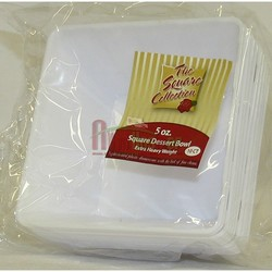5oz. White Square Plastic Dessert Bowls 10ct. Simcha