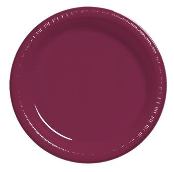 "7"" Burgundy Party Plastic Plates 50ct."