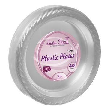 "CYBER BLOWOUT!!! 7"" Clear Plastic Party Plates 40ct."
