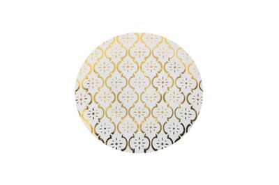 "Moroccan 7"" Gold / White Wedding Plastic Party Salad / Dessert Plates 10ct."