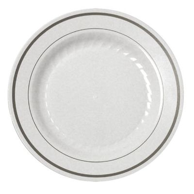 "7"" Masterpiece Silver Border Plastic Salad Plates 15ct."