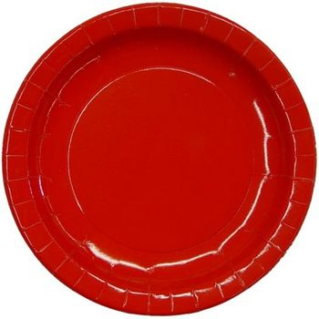 "7"" Red Salad / Cake Paper Plates 16ct."