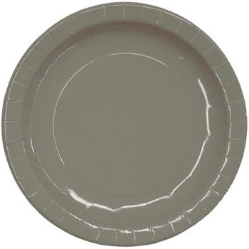 "7"" Silver Salad / Cake Paper Plates 16ct."