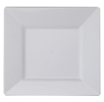 "8"" White Square Salad Plastic Plate 10ct."