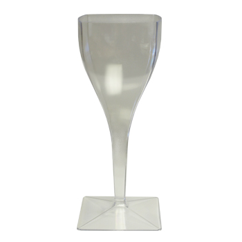 8oz. Clear Plastic Square Wine Goblet Maryland Plastic 6ct.