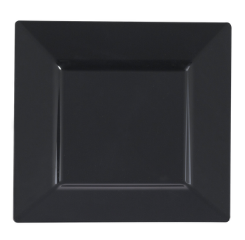 "9 1/2"" Black Square Dinner Plastic Plate 10ct."