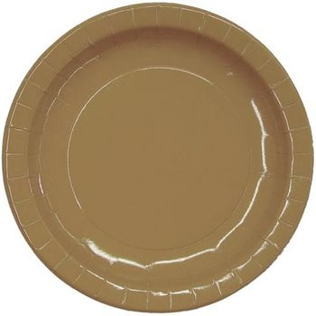 """9"""" Gold Dinner Paper Plates 16ct."""
