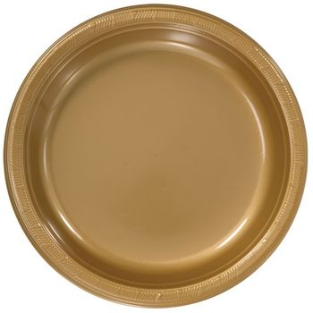 """9"""" Round Gold Plastic Luncheon Lunch Plates 50ct."""