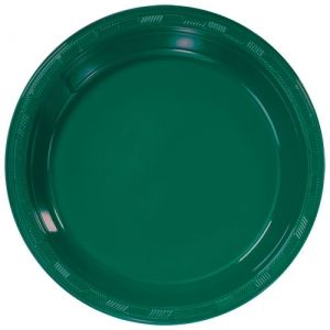 """9"""" Round Green Plastic Luncheon Lunch Plates 50ct"""