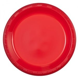 """9"""" Round Red Plastic Luncheon Lunch Plates 50ct"""