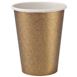 9oz. Luxurious Faux Textures Gold Paper Cups 24ct.