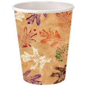 9oz Square Leaves Thanksgiving Fall Paper Hot/Cold Cup 16 Count