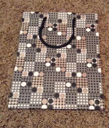 Abstract Black White Gray Dotted Medium Gift Bag W/ Black Rope Handle