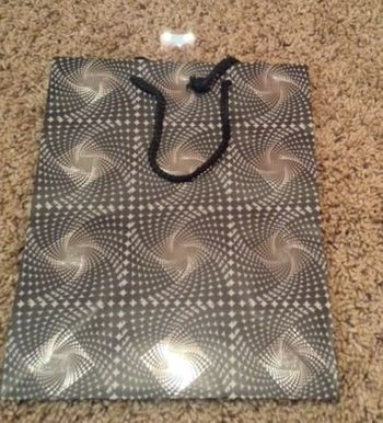 Abstract Black White Gray Diamonds Medium Gift Bag W/ Black Rope Handle