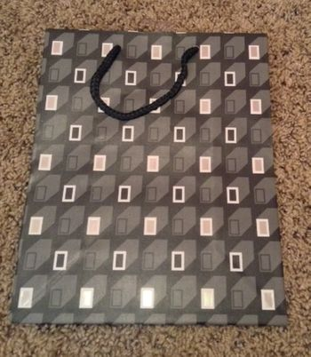 Abstract Black White Gray Rectangles Medium Gift Bag W/ Black Rope Handle