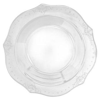 """Antique Collection 10"""" Clear w/ Antique Scrolled Trim Dinner Plastic Plates, 20ct."""