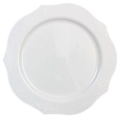 """Antique Collection 10"""" White w/ Antique Scrolled Trim Dinner Plastic Plates, 20ct."""
