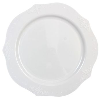 "Antique Collection 9"" White w/ Antique Scrolled Trim Luncheon Plastic Plates, 20ct."