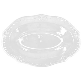 Antique Collection Clear w/ Antique Scrolled Trim Oval Bowls, 20ct.