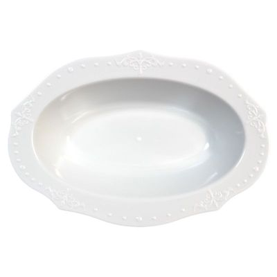 Antique Collection White w/ Antique Scrolled Trim Oval Bowls, 20ct.