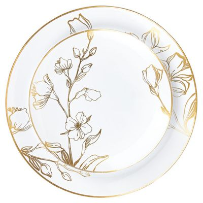 "Antique Gold Floral Plastic Banquet / Dinner 10"" Party Wedding Plates (10 count)"