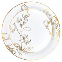 "Antique Gold Floral Plastic Salad 7.5"" Party Wedding Plates (10 count)"