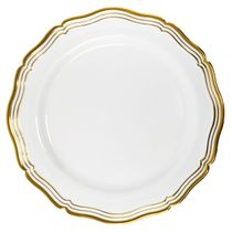 "Aristocrat Collection 10"" White w/ Gold Rim Plastic Dinner Plates 10ct."