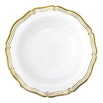 Aristocrat Collection 10oz. White w/ Gold Rim Plastic Soup Bowls 10ct.