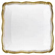 Aristocrat Collection White w/ Gold Rim Square Trays 2ct.