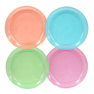 """Assorted Neon Colors Plastic 9"""" Dinner Plates, 20 count"""