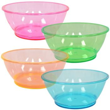 Assorted Neon Colors 6oz Plastic Bowls 20 Count
