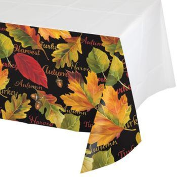 "Autumn Expressions Thanksgiving 54"" x 108"" Plastic Tablecloth"