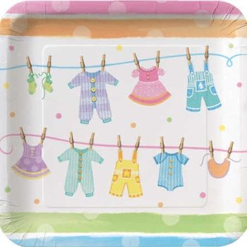 "Baby Clothes 9"" Square Dinner Plates, 8 count"