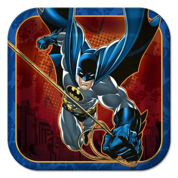 "Batman Heroes and Villains Birthday 7"" Square Dessert Plates, 8ct."