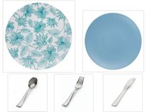 "Bella Design Collection White w/ Blue Floral 10.25"" Dinner Plastic Plates + Blue 8"" Salad Plastic Plates + Silver Cutlery *Party of 120*"