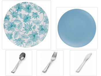 """Bella Design Collection White w/ Blue Floral 10.25"""" Dinner Plastic Plates + Blue 8"""" Salad Plastic Plates + Silver Cutlery *Party of 60*"""