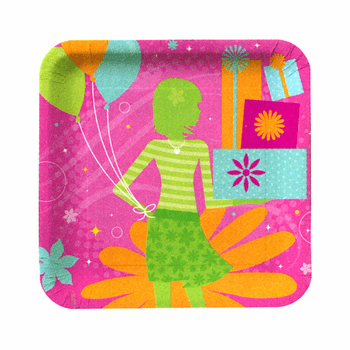 """Birthday Style Girls 9"""" Square Luncheon Paper Plate 8ct."""