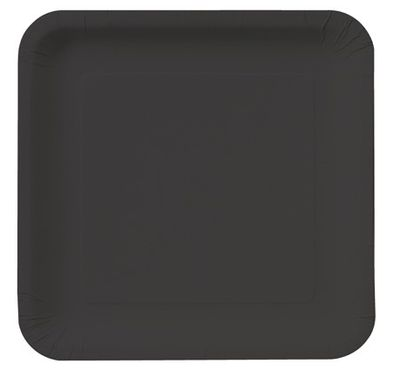 "Black 7"" Square Lunch Paper Plates 18ct."