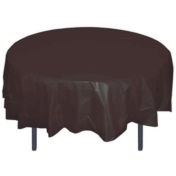 "Black 84"" Round Plastic Tablecloth"