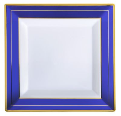"""Blue Splendor 4.5"""" Square White w/ Blue and Gold Band Plastic Cocktail Plates, *Case of 120*"""