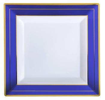 "Blue Splendor 7.5"" Square White w/ Blue and Gold Band Plastic Dessert Plates *Case of 120*"