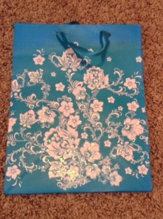Blue w/ White Glittery Flowers Medium Gift Bag w/ Blue Ribbon Handle