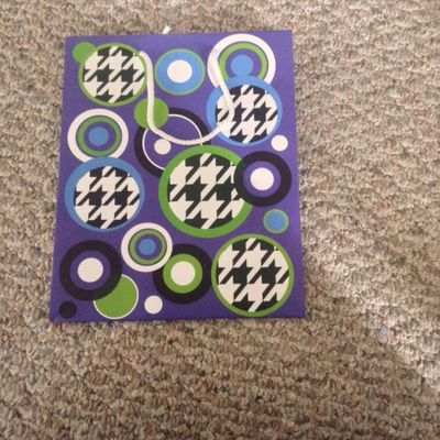 Blue with Funky Circles Medium Gift Bag With White Rope Handle