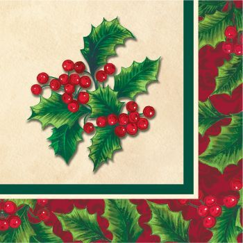 Boughs of Holly Christmas Paper Beverage Napkins, 16ct.